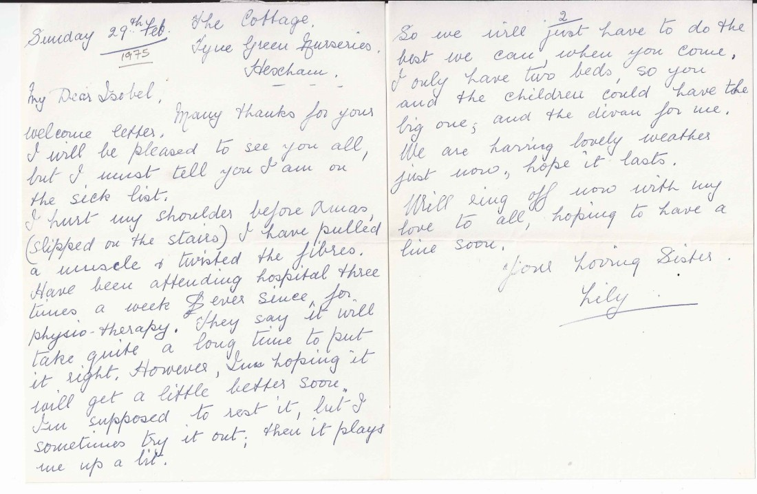 Aunt Lily's letter 1976
