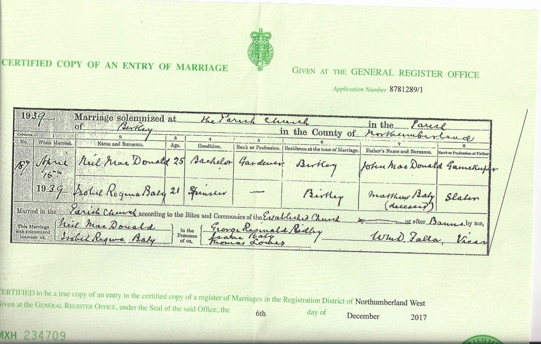 Isobel & Neil Marriage Cert