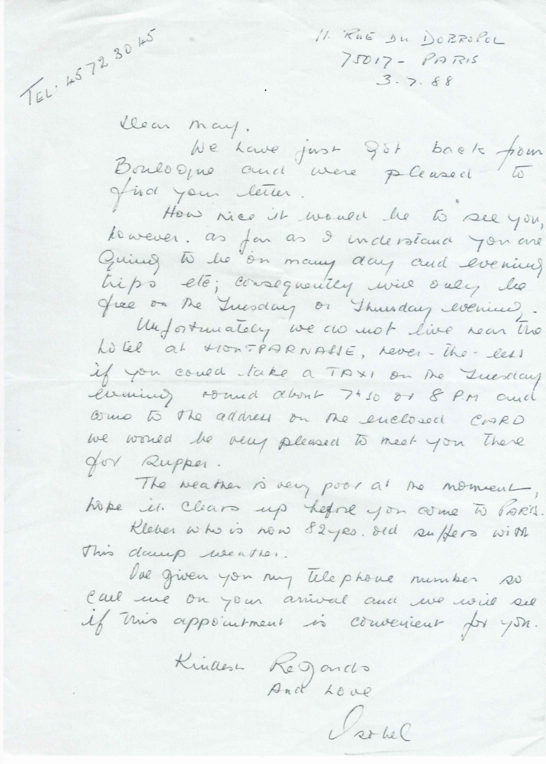 Letter Isabel to May 1988